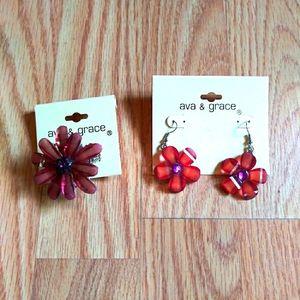 NWT Ava & Grace Shimmery Flower Earrings & Ring